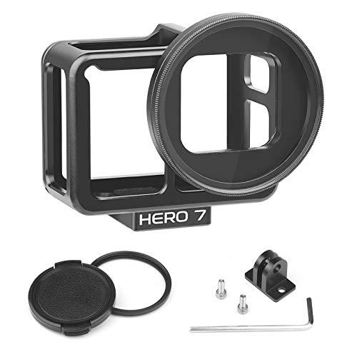 Yangers Aluminiumlegierung Schutzgehäuse Zubehör für GoPro Hero 7 Black 6 5, steife Metallschale Rahmen seitlich offener Käfigdeckel mit Fahrradhalterung, 52mm UV-Filterlinsenkappe