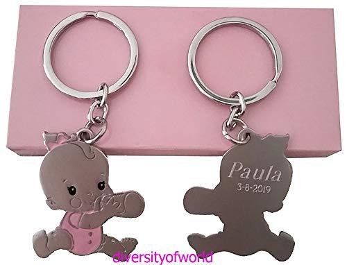 diversityofworld Llavero para Bautizo bebé niña Personalizado con Nombre y Fecha. Pack 10 Unidades.