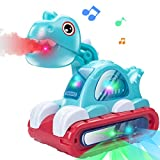 UNIH Dinosaur Musical Car Toys with Lights and Mist for Baby Toys for 1 Year Old Boy Girl, Infant Crawling Developmental Toys 6 to 12-18 Months