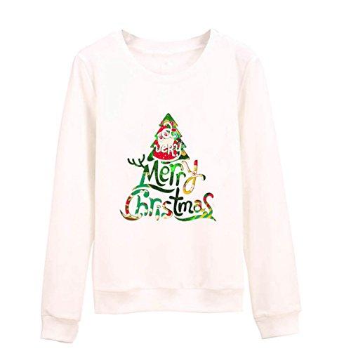 YuanDian Unisex Paar Pärchen Pullover mit Weihnachten Weihnachtsbaum Merry Christmas Gedruckt Sweatshirt Weiß 3XL