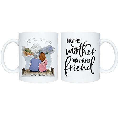 laoonl Taza de café impresa doble de cerámica, 11 oz, gran capacidad de letra impresa madre e hija, el mejor regalo para la madre