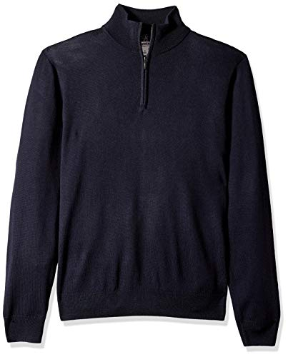 Amazon Brand - Goodthreads Men's Lightweight Merino Wool Quarter Zip Sweater, Navy, Large