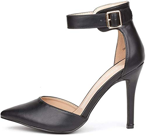 DREAM PAIRS Damen Pumps mit Hohem Absatz Stiletto Fesselriemen Schuhe Oppointed-Ankle Schwarz Größe 37.5 EU / 6.5 US