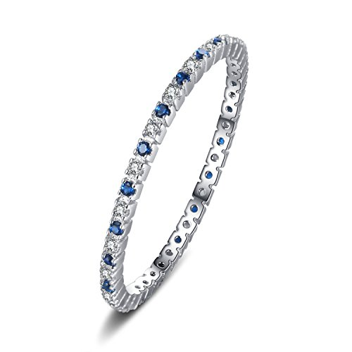 JewelryPalace White Gold Plated 925 Sterling Silver Rings for Women, Wedding Bands Eternity Ring, Promise Anniversary Created Blue Spinel Simulated Diamond Ring, Girls Womens Jewellery Gifts