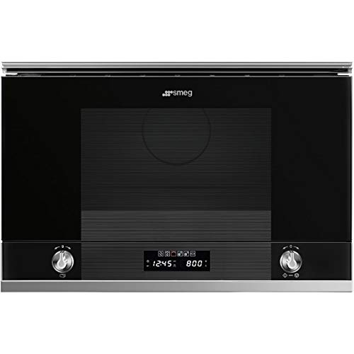 Smeg MP122N1 - Microondas con parrilla integrada (22 L, 850 W), color negro y acero inoxidable