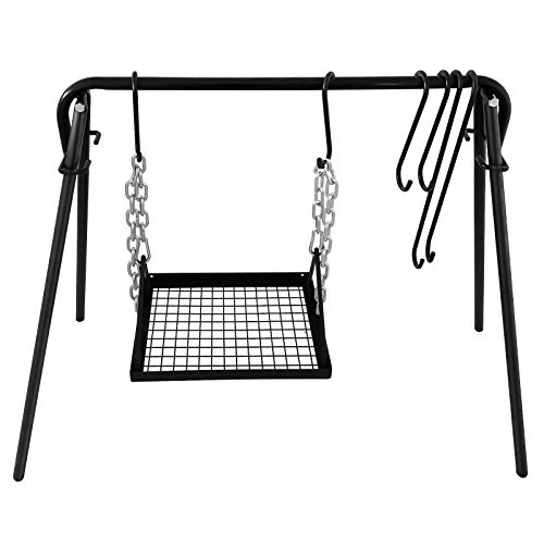 Sidasu Swing Grill Campfire Cooking Stand Outdoor Picnic Cookware Bonfire Party Equipment, Adjustable Collapsible Legs with Hooks & Accessories