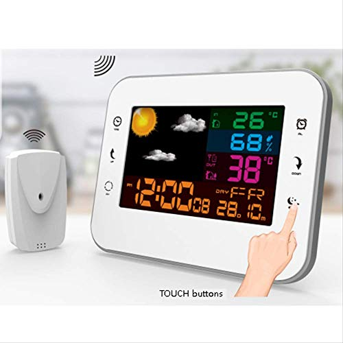 Guo Smart WiFi Elektronische wekker, met kleurendisplay, voor binnen en buiten, touchscreen, draadloze weersvoorspelling, digitale wekkerradio
