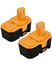 2-Pack Ibanti 18 Volt P100 Replacement Battery Compatible with Ryobi 18V Battery One+ P100 P101 ABP1801 ABP1803 BPP1820 2 Packs