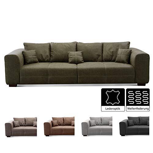 CAVADORE Big Sofa Mavericco inkl. Kissen / XXL-Couch mit tiefen Sitzflächen und modernem Design / 287 x 69 x 108 / Lederoptik dunkelgrün