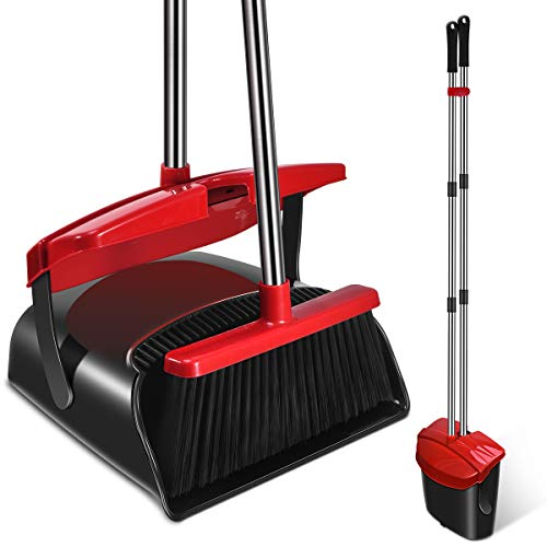 Mosuch Broom and Dustpan Set, Home Use Kitchen Outdoor Rubber Broom with Dustpan Premium Long Handled Broom Dustpan Combo Upright Standing-Black