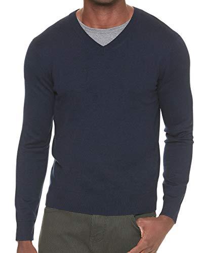 BANANA REPUBLIC Men's Premium V-Neck Sweater (Navy, M)