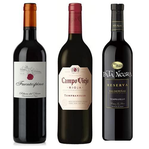 Vino para regalar - Caja de vino tinto D.O + Paleta de cebo Ibérico 90gr. I Fuentespina Barrica, Campo Viejo Tempranillo y Pata Negra Reserva I Regalo Original