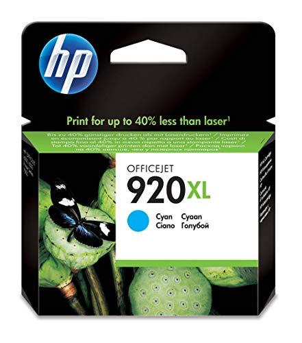 HP 920XL Cartouche d'Encre Cyan Grande Capacité Authentique pour HP OfficeJet 6000/6500/7000/7500 (CD972AE)
