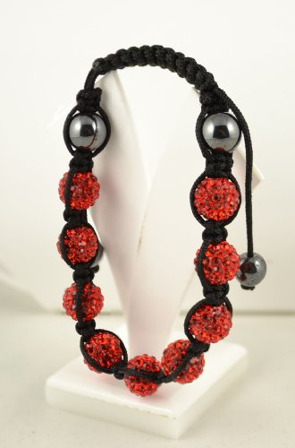 Jay Jewellery - Red shamballa Bracelet/Friendship Bracelet / 9 Rhinestone Disco Balls and hermatite Beads