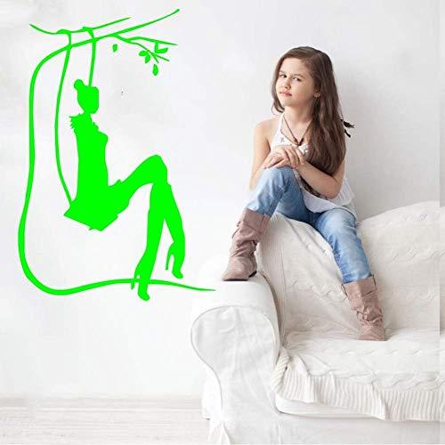 Salon meisje op schommel silhouet kunst design muursticker vinyl muurschildering huis slaapkamer Sweet Decor kwaliteit wallpaper decals 42 * 64cm