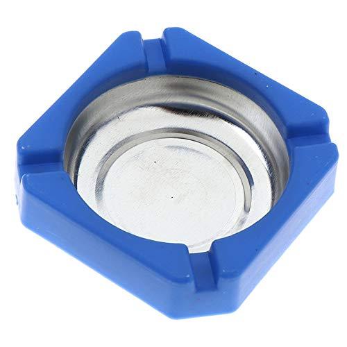 Neaer Cenicero para el hogar de plástico de acero inoxidable con bordes cuadrados, accesorios para el hogar, oficina, publicidad, cenicero de acero inoxidable (color: azul)