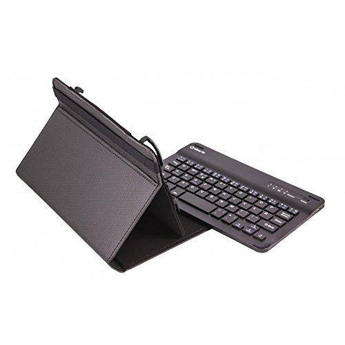 SilverHT - Funda Universal con Teclado inalámbrico Bluetooth para Tablet de 7 Pulgadas. Funda Gripcase con Extra de Agarre. Compatible con Android e iOS. Color Negro.