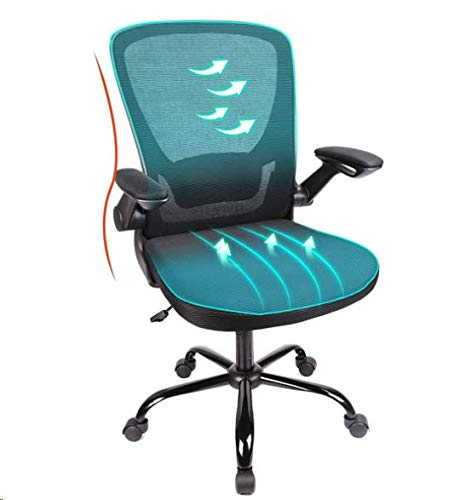 Komene Office Chair, Desk Chair with Large Seat, Metal Base Ergonomic Office Chairs,330lbs Mesh Desk Chair Mid Back Computer Chair Gaming with Flip-up Arms Lumbar Support, Adjustable Seat Height