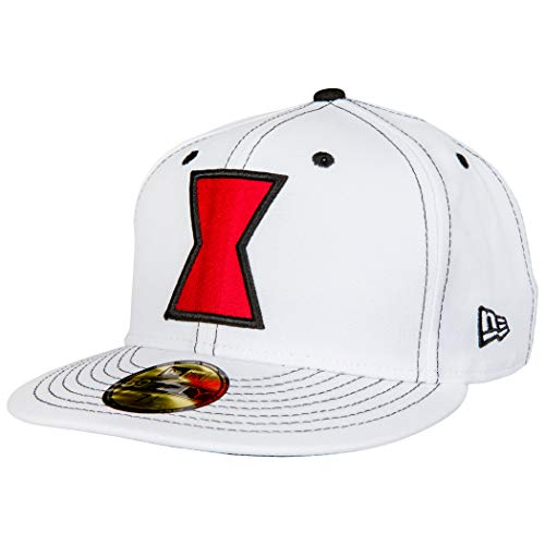 New Era Disfraz de viuda negra 59Fifty blanco sombrero ajustado
