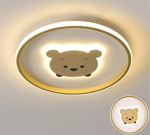 LED Plafón Regulable Cuarto de los niños Lámpara de techo Dibujos animados Oso Luz de techo Ultradelgado Redondo Luces para niños Luces de techo para Dormitorio Chico Chica Salón,Ø40xh4cm 32w