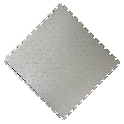 Vario24 PVC Bodenfliese 1 m² (4 Fliesen), extrem belastbar, Bodenbelag, Garagenboden, Industrieboden, nicht die Light Version (Noppen-hellgrau)