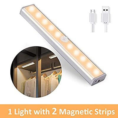 OUSFOT Under Cabinet Lighting, 10 LED Closet Lights Motion Sensor Indoor USB Rechargeable Wireless Stick up Anywhere