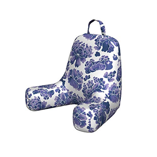 Ambesonne Traditional Reading Pillow Cover, Watercolor Chinese Lotus Purple Mallow Flowers Chakra Pattern, Unstuffed Printed Bed Rest Case from Soft Fabric, Small, Lilac Purple White