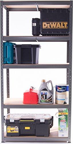 Garage Shelving Unit 5Tier EXTRA HD - 150 High, 90 Wide, 45 Deep (cm) 265kg Per Shelf 1.2mm Thick Frame