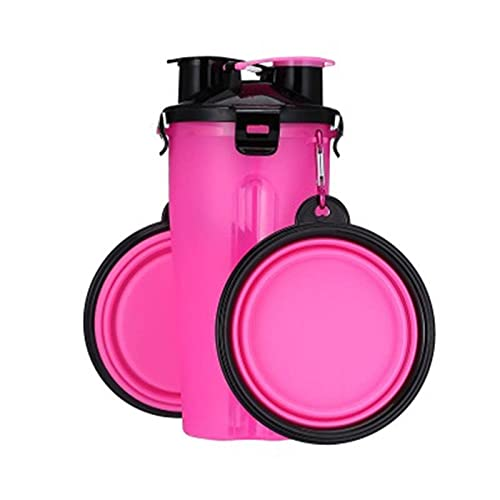 N\C Dog 2 In 1 Bottle Pet Feeder Dog Kettle Collapsible Folding Bowl Travel Cat Outdoor Food Water Storage