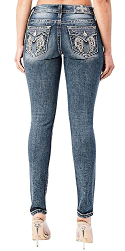 Miss Me Women's Mid-Rise Skinny Jeans with Angel Wing and Broken Faux Leather Embroidery (Dark Blue, 34)