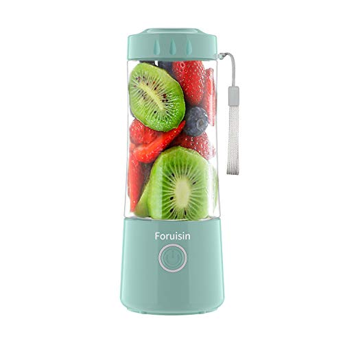 Foruisin Portable Personal Blender, Household Juicer fruit shake Mixer -Six Blades, 380ml Baby cooking machine with USB Charger Cable