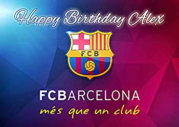 Cakecery FC Barcelona Edible Cake Image Topper Personalized Birthday Cake Banner 1/4 Sheet