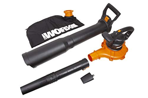 WORX WG518 12 Amp 2-Speed Leaf Blower, Mulcher & Vacuum, 10' x 11' x 40', Orange and Black