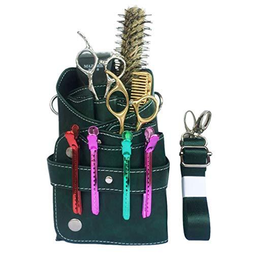 CUSHION Leder Barber Scissor Tasche Salon Friseur Pouch Case Professionelle Friseurscheren-Kasten-Beutel-Halter-Kasten-Gurt,Grün
