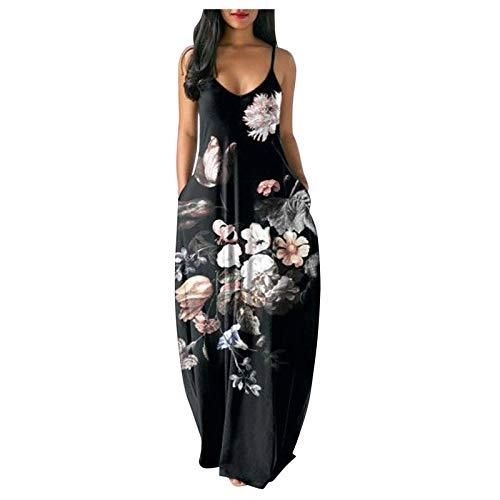 Falda Larga Casual más tamaño Suelto Largo y Profundo Escote en V Sexy Impresión Casual Vestido de Falda Larga con teñido Anudado para Damas de Talla Grande, Falda Larga Acampanada