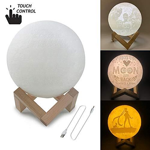 MMPY Luna decoración personalizada Interruptor táctil de 3 colores de impresión en 3D de la luna luz de carga USB de ahorro de energía LED de luz de la noche con soporte de madera Base, Diámetro: 10 c