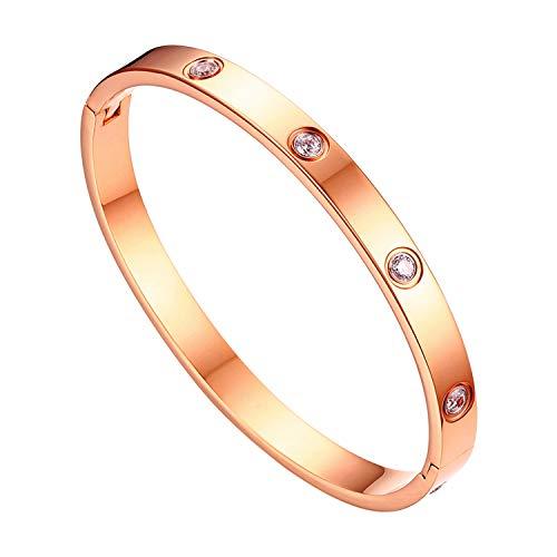JewelryWe Schmuck Damen Armreif Edelstahl Zirkonia einfache Stil Liebe Armband 6mm breit mit Schließe Armspange Gravur Rosegold