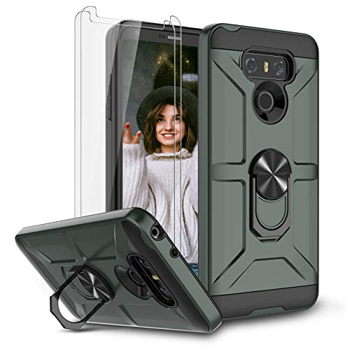Jeylly Case for LG G6 with Tempered Glass Screen Protector, 360 Rotating Ring Kickstand Holder [Work with Magnetic Car Mount] Armor Defender Shockproof Case for LG G6 2017,Midnight Green