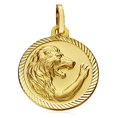 18k Goldmedaille Horoskop Zeichen Löwe 20 mm. Sternzeichen geschnitzt Zaun