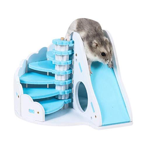 Crabitin DIY - Cama redonda de madera de doble capa con diseño de escalera, para ratón, conejillo de indias, cama para mascotas, hámster, rata, pequeño castillo de animales para dormir