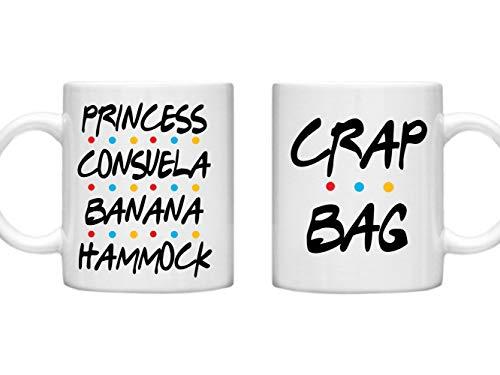 GPO Group Friends, Double Mug Set, Princess Consuela Banana Hammock & Crap Bag, Couples Gifts, His and Hers, Funny Mugs, Friends Series, Microwave Dishwasher Safe 11oz Mug Cup