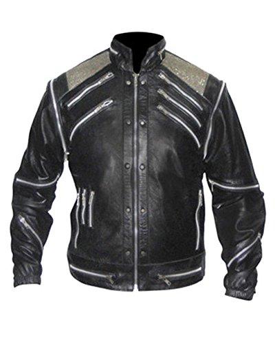 TIGMOND Herrenmode Beat-it Premium Leder Hochwertige Jacke Kunstleder Schwarz Medium