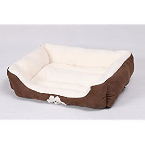 long rich Rectangle Pets Bed with Dog Paw Embroidery, Chocolate, 2721 inches (HCT REC-006)