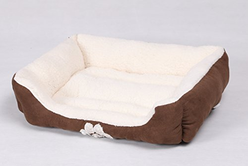 long rich Rectangle Pets Bed with Dog Paw Embroidery, Chocolate