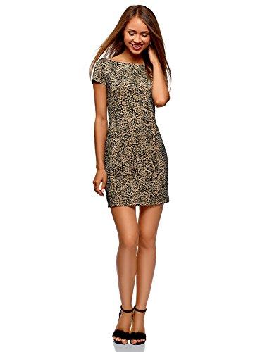oodji Ultra Damen Mini-Kleid mit Flockdruck, Beige, DE 36 / EU 38 / S