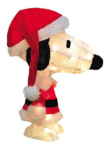 ProductWorks 24-Inch Pre-Lit 3D Peanuts Santa Snoopy Christmas Yard Decoration, 50 Lights