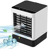 Mobile Klimageräte Mini Luftkühler, Mobile Klimaanlage Leise, Air Cooler Klimagerät Mini 3 in 1 Ventilator, Luftbefeuchter, 3 Geschwindigkeiten,Luftkühler Klein für Zuhause und Büro (Black)