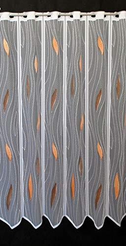 Scheibengardine mit Tropfenmuster 100 cm hoch | Breite der Gardine durch gekaufte Menge in 14 cm Schritten wählbar (Anfertigung nach Maß) | weiß mit braun/Terra | Vorhang Küche Wohnzimmer