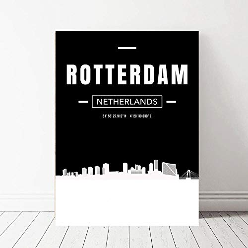 SHENGNZ Pintura al óleo Skyline City Map Poster Canvas Print Decoración para el hogar Sin marco-60x85 cm_Rotterdam
