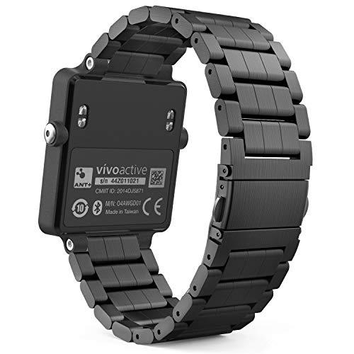 MoKo Banda de Reloj para Garmin Vivoactive Acetato, Universal de Acero Inoxidable Ajustable Banda Correa de Banda Pulsera para Garmin Vivoactive Acetato Deportes GPS Smart Watch, Negro